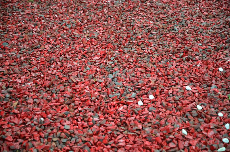 Small Red gravel Pebble floor texture, perspective. stock photos