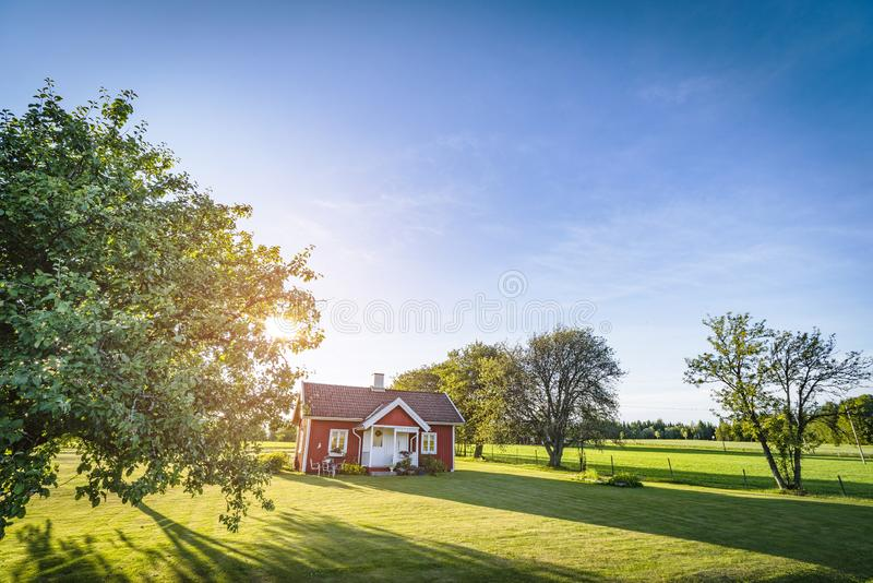 Small red house on a swedish countryside landscape. In the summer with green fields and blue sky stock image