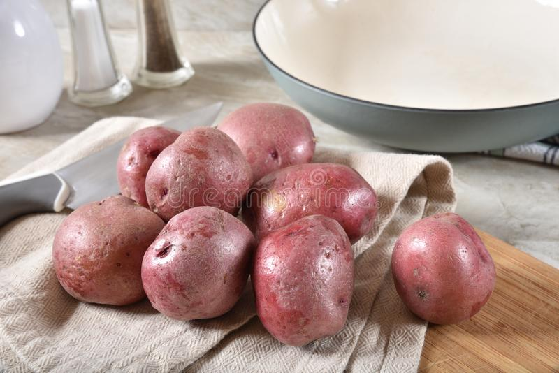 Small red potatoes stock images