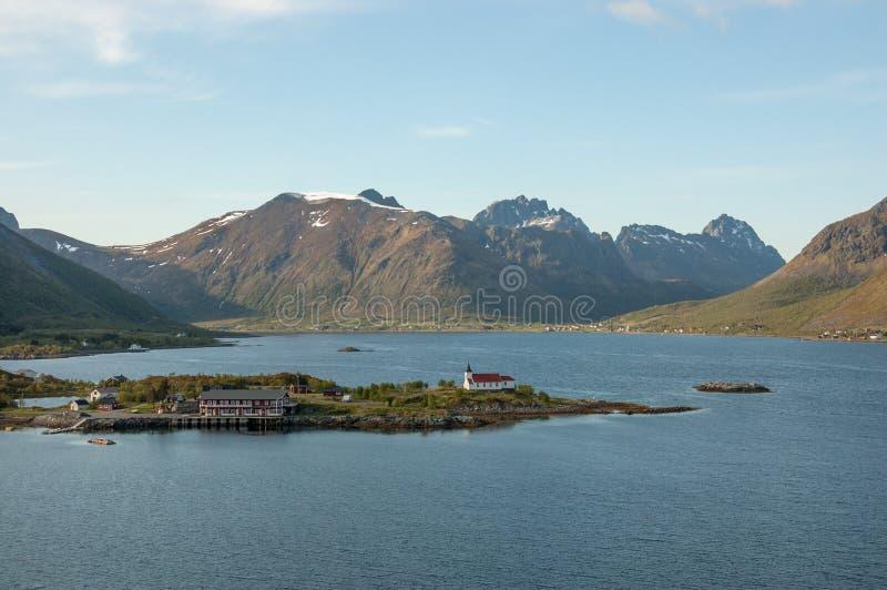 Traditional church on peninsula, Lofoten Islands, Norway stock photo