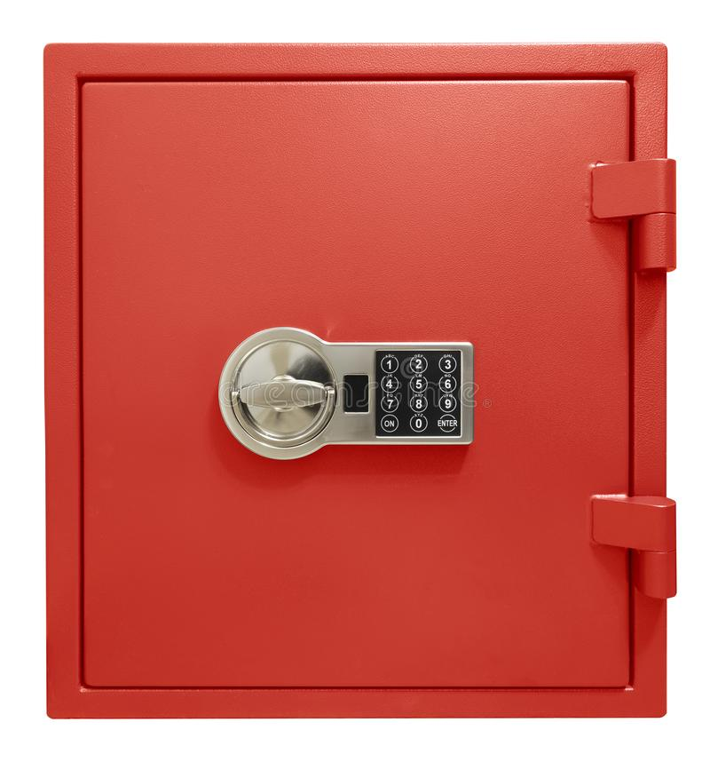 Small red safe box isolated with clipping path included royalty free stock photography