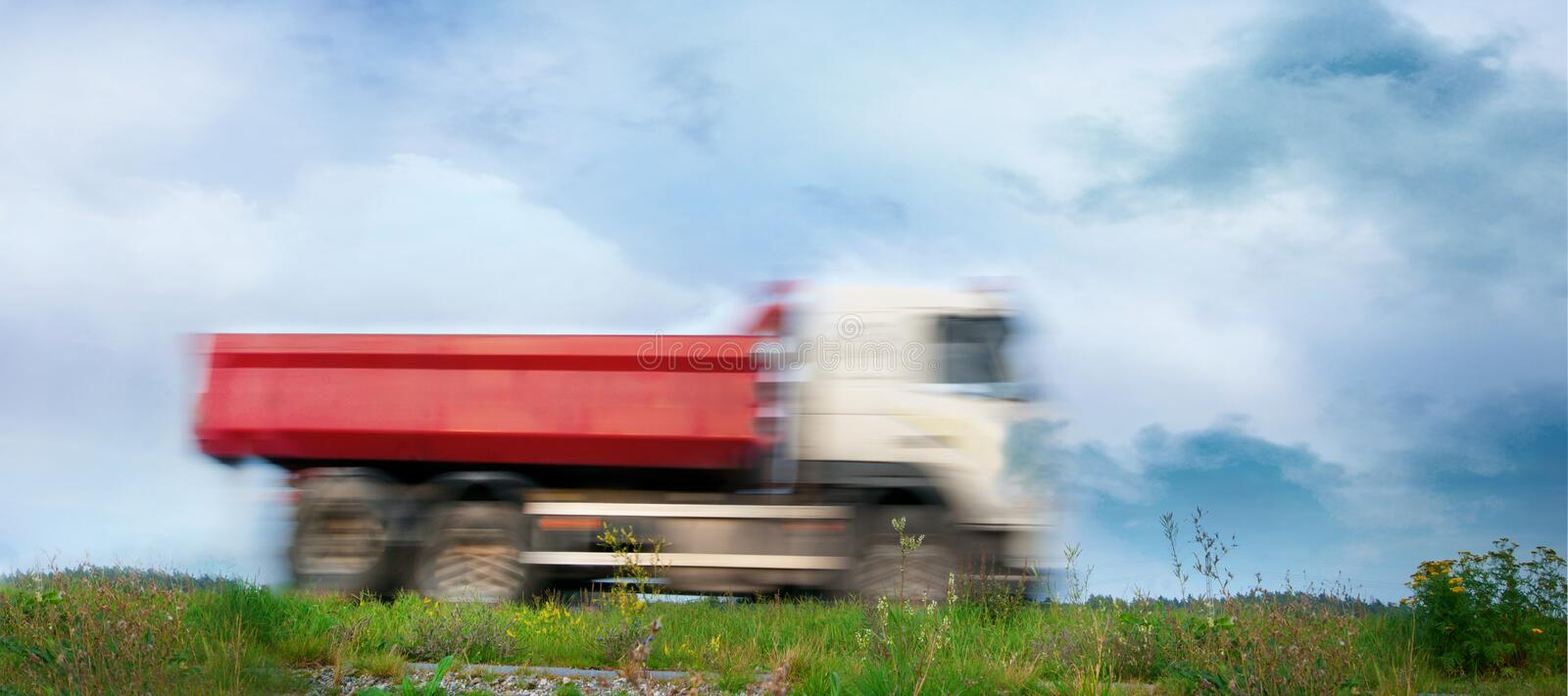 Download Small red truck stock image. Image of motion, blurred - 21370957