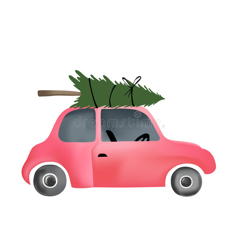 Small red vintage car and christmas tree stock illustration