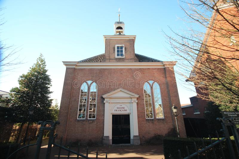 Small reformed church from 1726 in the center of Voorburg in the Netherlands. royalty free stock images