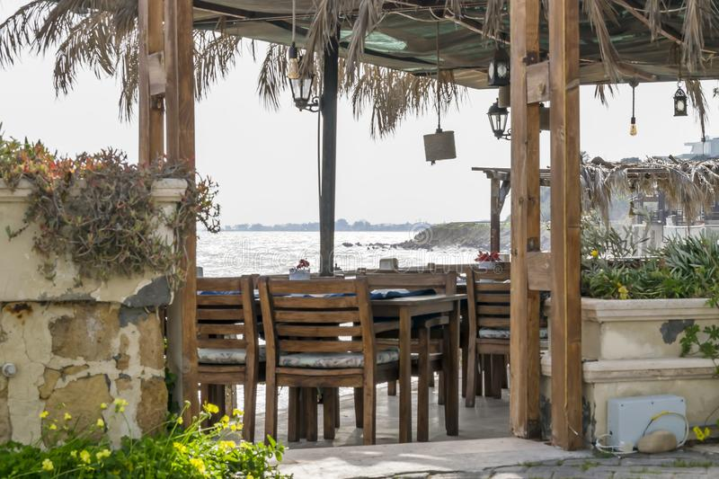 Small restaurant on the Mediterranean coast. Traditional Mediterranean style.  royalty free stock photo