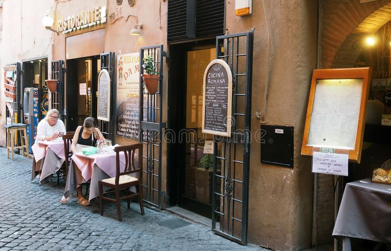 Small restaurant in Roma, Italy royalty free stock images