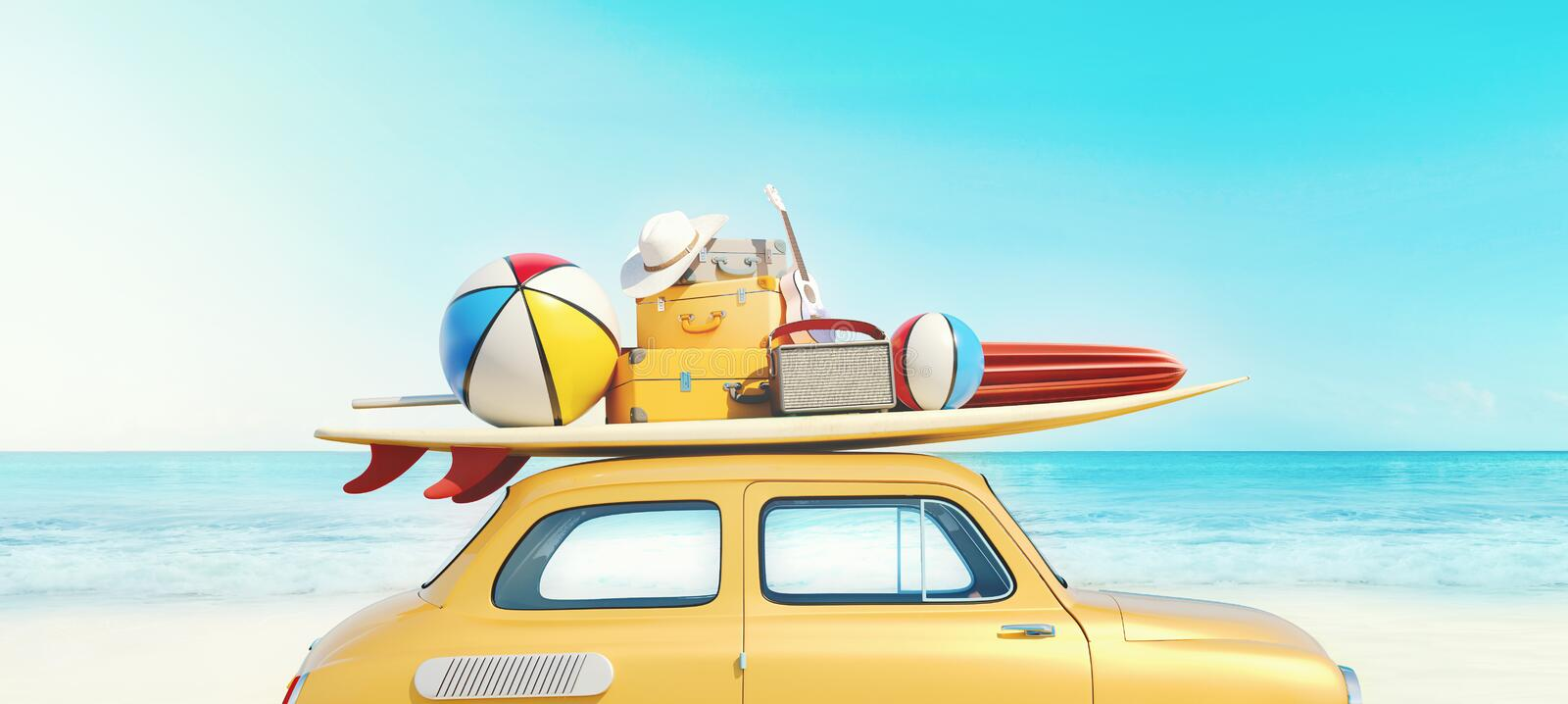 Small retro car with baggage, luggage and beach equipment on the roof, fully packed, ready for summer vacation. Concept of a road trip with family and friends stock photos