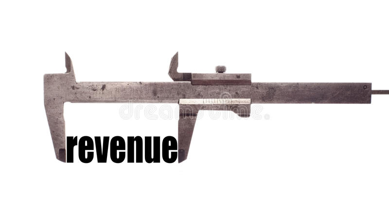Small revenues. Color horizontal shot of a caliper and measuring the word revenue royalty free stock photos
