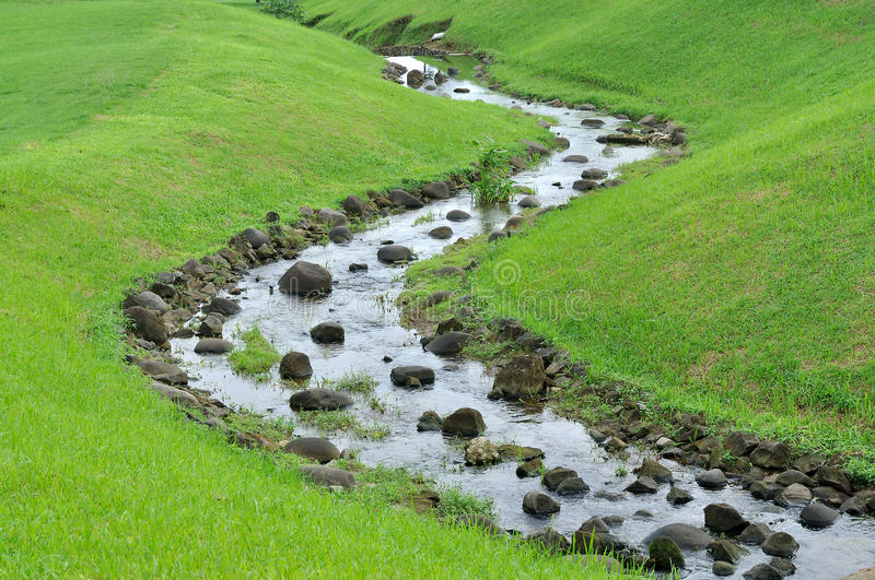 Small River. On the prairie with green grass on the side stock photography