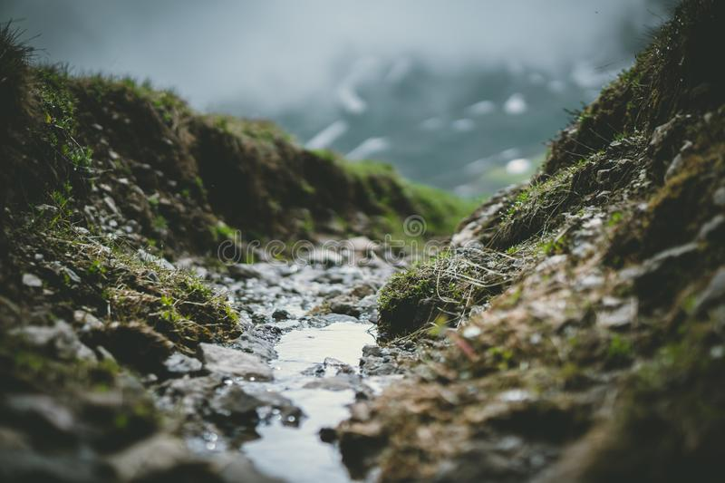Small river in mountains stock image