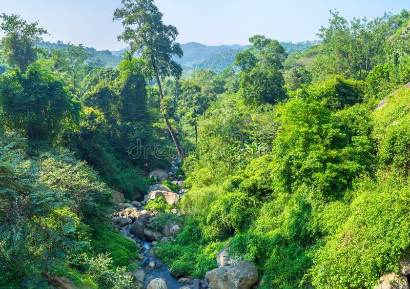 The small river Punagala Oya next Koslanda. The small river Punagala Oya windings between boulders originates after Diyaluma Falls, Koslanda, Sri Lanka stock photos
