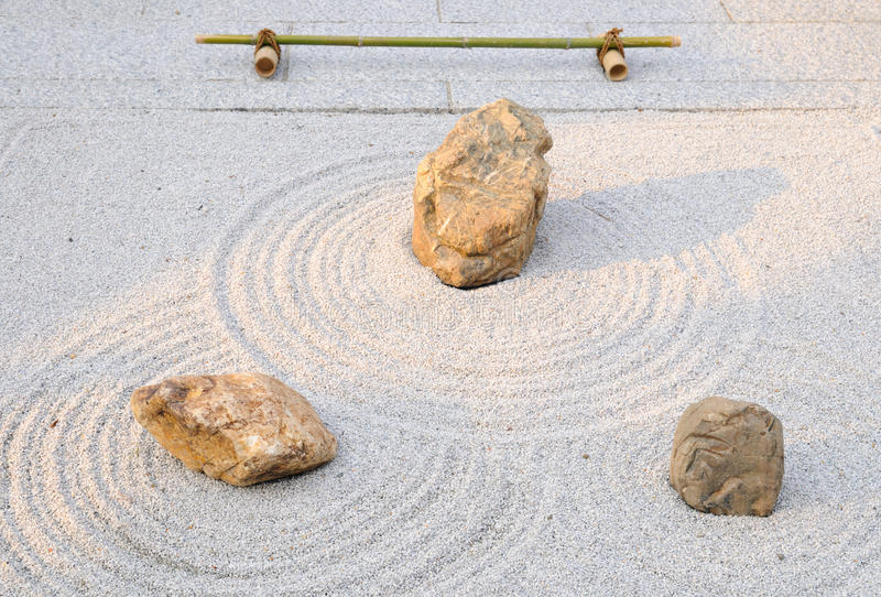 Small rock garden; Yougen-ji temple, Kyoto, Japan. A small zen garden (rock garden or karesansui); yard of Yougen-in temple, East from Sanjusangendo Temple stock images