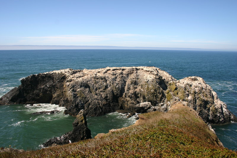 Small Rock Peninsula. On the Oregon Coast in Newport Oregon royalty free stock photo