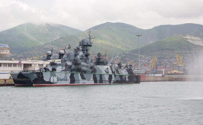 Small rocket ship on an air pillow `Samum`. NOVOROSSIYSK, RUSSIA- MAY 10, 2015: Small rocket ship on an air pillow `Samum` in Novorossiysk. Black sea fleet naval stock image