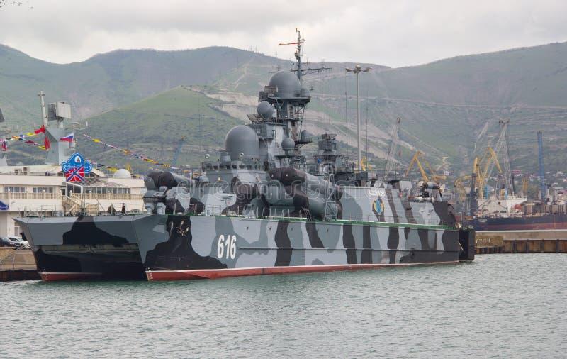 Small rocket ship on an air pillow `Samum`. NOVOROSSIYSK, RUSSIA- MAY 10, 2015: Small rocket ship on an air pillow `Samum` in Novorossiysk. Black sea fleet naval royalty free stock image