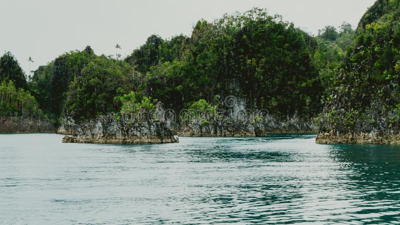 Small rocky islands in Pianemo, Raja Ampat, West Papua, Indonesia stock photography