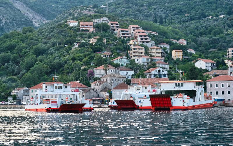 Small Roll on Roll Off Ferry Boats, Kamenari, Montenegro stock photo