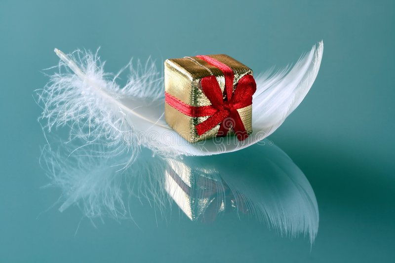 Small romantic present on whi stock image
