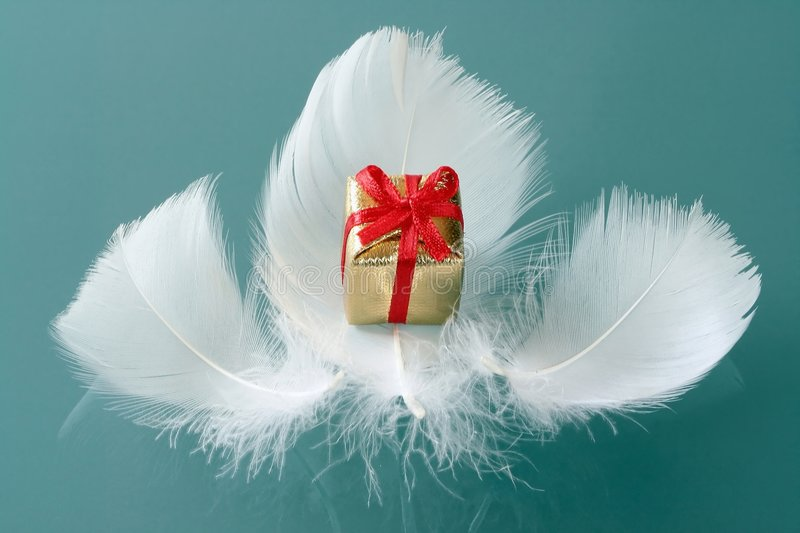 Small romantic present on whi royalty free stock photography