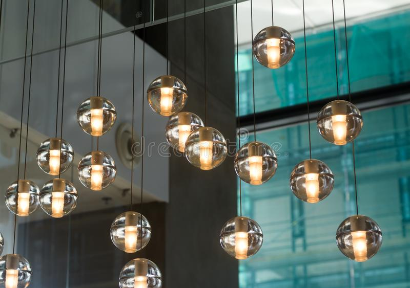 Small round designer glass lamps stock photography