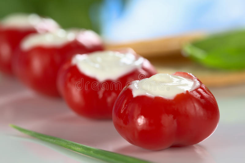 Small Round Hot Pepper Filled with Cream Cheese royalty free stock images