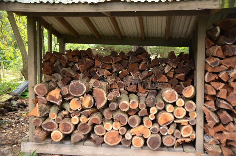 Firewood. Small round logs under a shed roof for firewood royalty free stock images