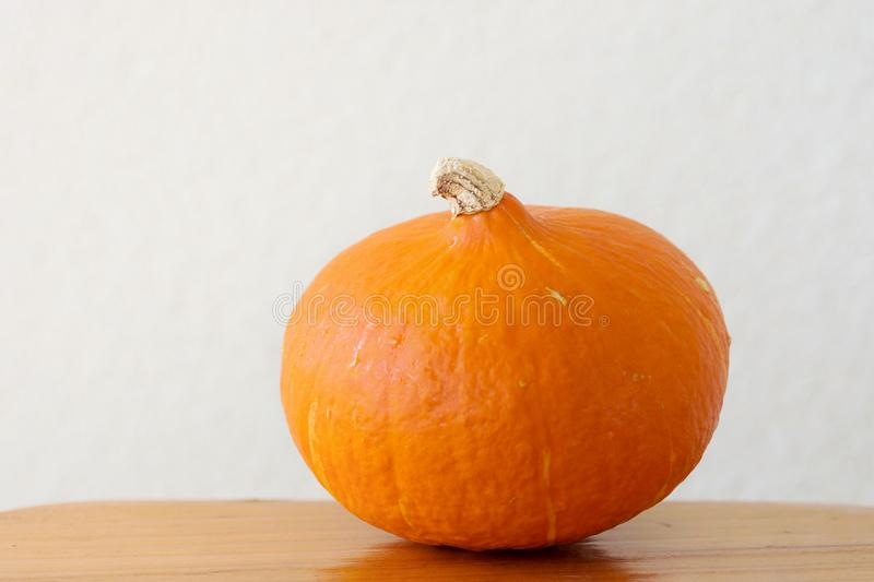 Small Round Ripe Vivid Orange Heirloom Hokkaido Pumpkin on Wooden Kitchen Table. White Wall Background. Country Style stock photography
