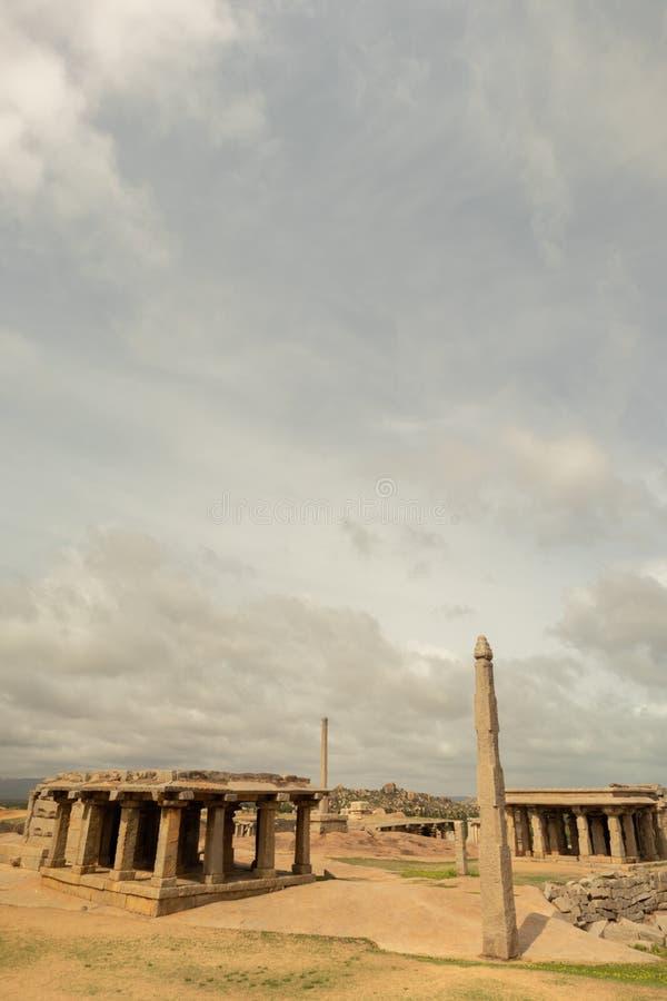 Small ruined Temples at Hemakuta Hill top at Hampi, Karnataka stock image