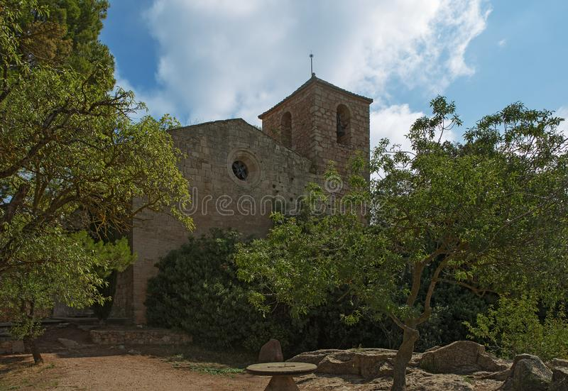 A small rural church of Siurana. A highland village of the municipality of the Cornudella de Montsant in the comarca of Priorat, Tarragona, Catalonia, Spain royalty free stock image