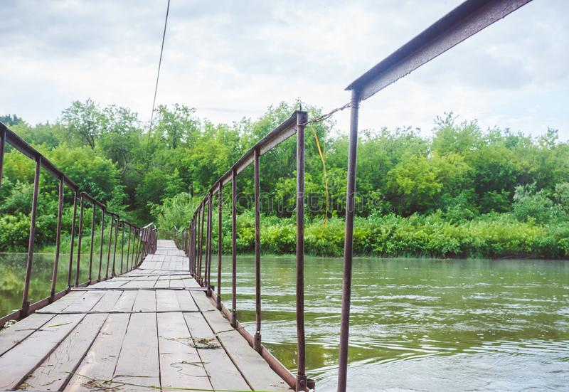 Small rustic bridge royalty free stock photo