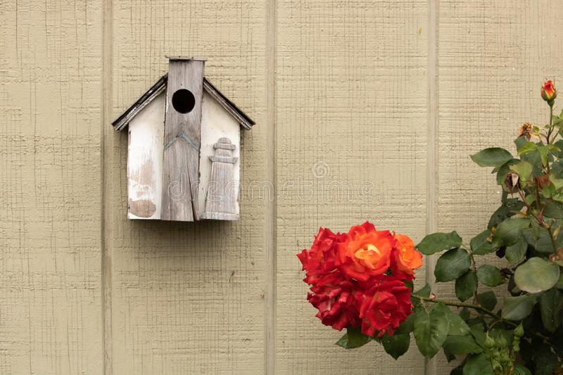 Small rustic handmade birdhouse decorated with a wood lighthouse it hanging next to beautiful orange, yellow, red rose bush stock photos