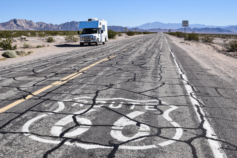 Small RV on Route 66 stock image