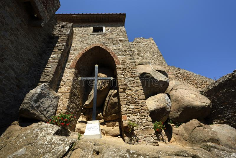 Giglio Castello, Tuscany, Italy. Small sacramental place in ancient medieval historical village Giglio Castelllo on Tuscan island Giglio - Italy stock image
