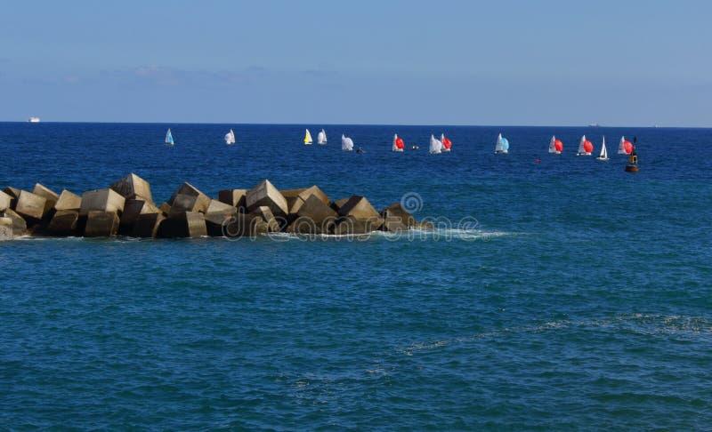 Small sailboats in the sea. Small sailboats sailing on the coasts of the island of Gran Canaria stock photo