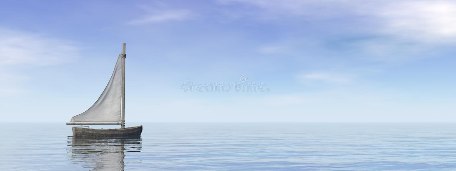 Small sailing boat on the ocean - 3D render royalty free illustration