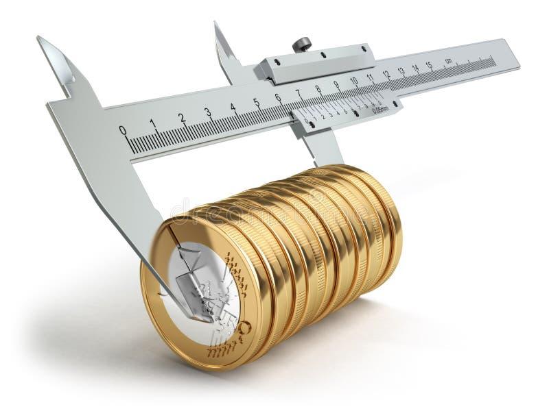 Small salary concept. Caliper measuring coins euro. 3d vector illustration