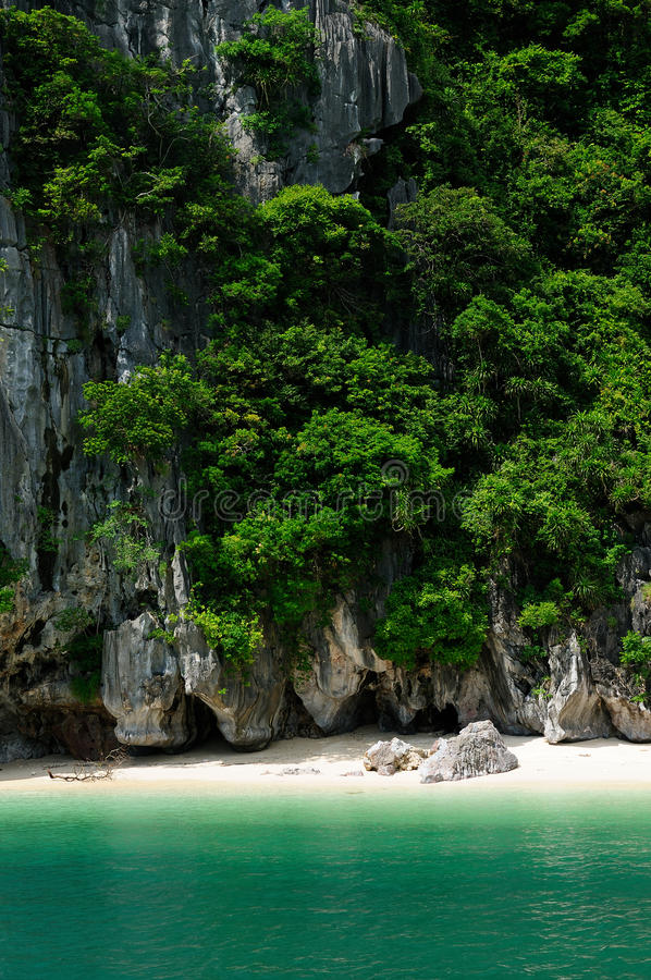 Small sandy beach in the Halong Bay in Vietnam stock image