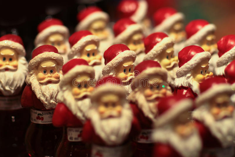 Small santa bottles royalty free stock photos