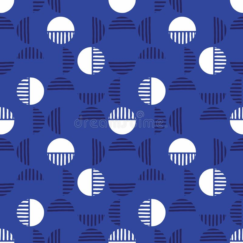 Small Retro Dark Blue Geo Dots And Half Dots Vector Seamless Pattern. Modern Abstract Circles Background stock illustration