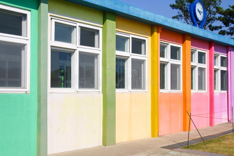 Small school building painted with pastel tone in Jeju Island. Korean small school building painted with pastel tone in Jeju Island stock photography