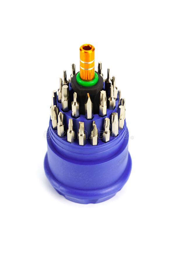 Small screwdriver set for Electronic isolated. On white background royalty free stock image