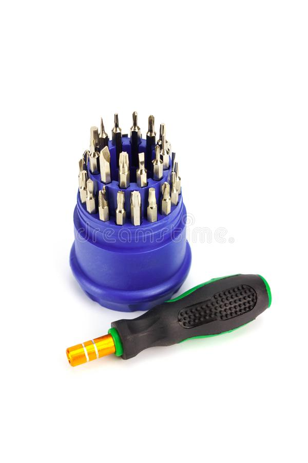 Small screwdriver set for Electronic isolated. On white background stock images