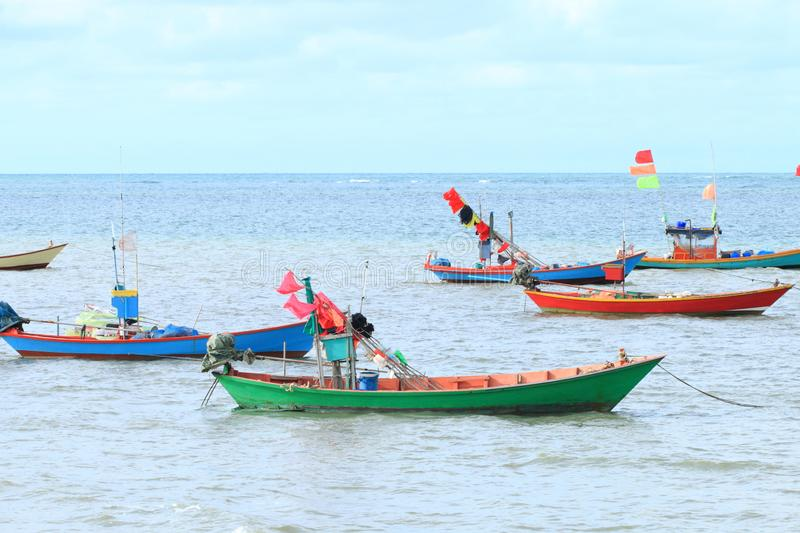 Small sea ship for fishing in Thailand. Group of small sea ship for fishing at sea in Thailand royalty free stock photos