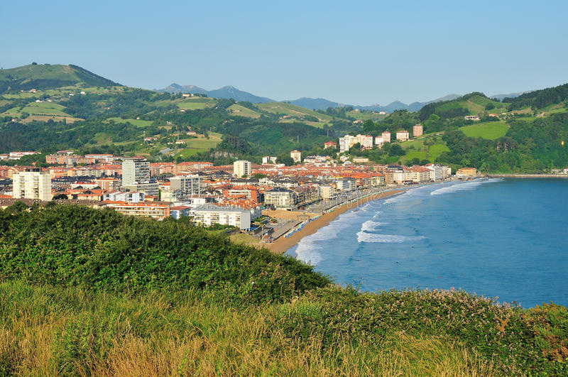 The small seaside town in the Basque Country. The top view of seaside town stock images