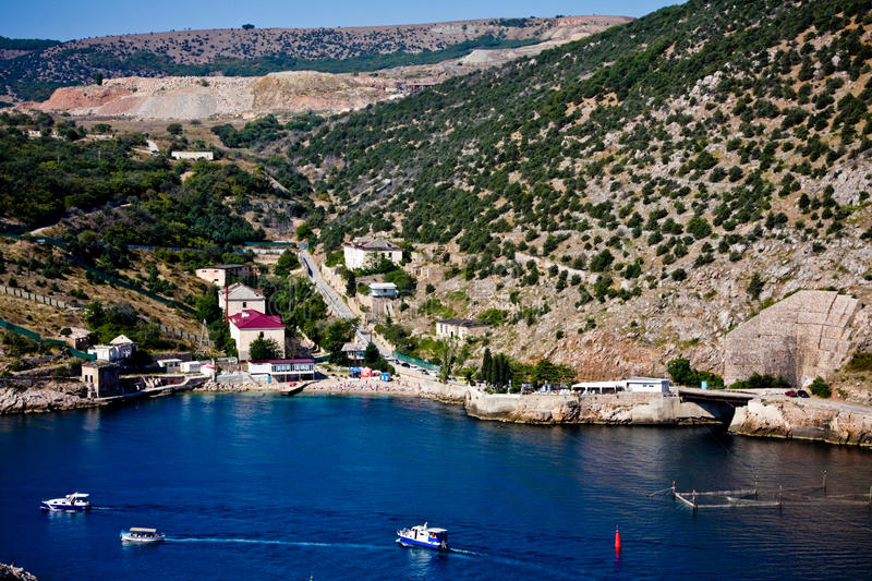 Small seaside town view. This picture takes in Balaklava bay in Crimea stock photos