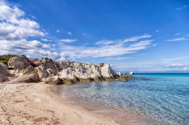 Small secluded beach in Sithonia, Chalkidiki, Greece. Like a little paradise stock photo
