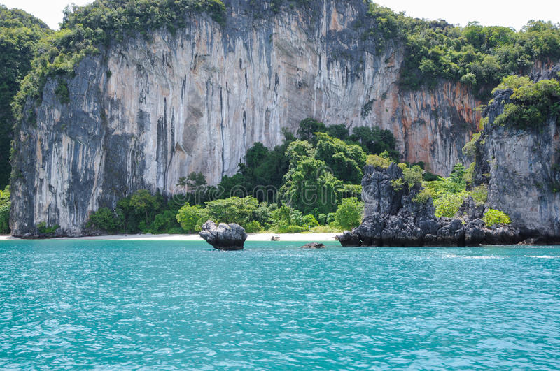 The Small, Secluded Beach of the Trees Covered Island stock photos