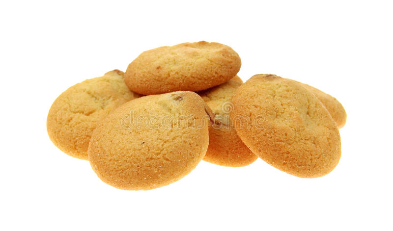 Small serving pecan shortbread cookies stock photo