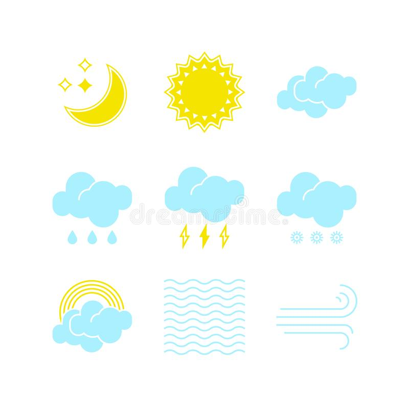 Small set of essential weather icons in vector to show the forecast and the current climate outside during the day and. Night time for applications, widgets royalty free illustration