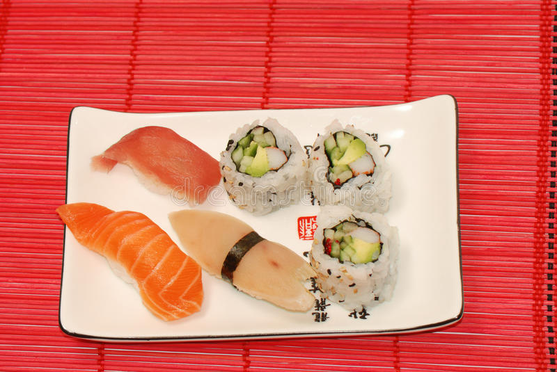 Small set of sushi and rolls stock photo